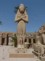The huge statue of King Pinedjem in Karnak