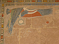 A vulture from a wall at the Mortuary Temple of Hatshepsut